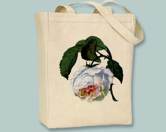 Gorgeous Drooping Victorian Rose Illustration on Canvas Tote -- Selection of  sizes available