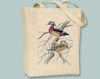 Gorgeous Vintage Ducks Illustration on Canvas Tote -- Selection of size available