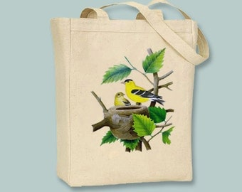 Stunning American Gold Finch on Tree Branch Vintage Illustration on Canvas Tote -- Selection of  sizes available