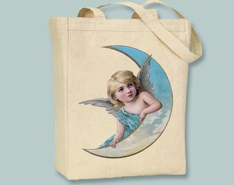 Angel Resting on Moon, Blue Dress, Vintage Image Canvas Tote - Selection of sizes available