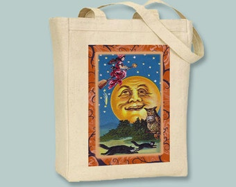 Vintage Tarot Card Halloween Poster Natural or Black Canvas Tote -- Selection of sizes available