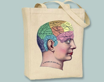"""Vintage """"Picture of Good Health"""" illustration Natural or Black Canvas Tote -- Selection of sizes  available"""