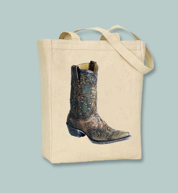 Fantastic Cowboy Boot on Natural or Black Canvas Tote  - Selection of sizes available