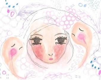 ACEO Original, Sleep Monsters Illustration, Mini Art, Small Original Painting, 2.5 x 3.5, Girl, Pink, Mixed Media, Gift, Insomnia
