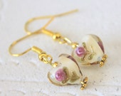 Glass Heart Earrings/Lamp Work/Flame Work/Valentine's Day/Wedding/Bridal/Special Occasion Jewelry/Upgrade to 14K Gold Plated French Wires