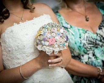 Pastel Button Wedding Bouquet with Lace