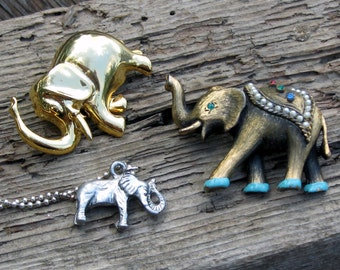 Vintage Indian and African Elephants  2 Pins, One Pendant.  Shiny Fun Parade Wear