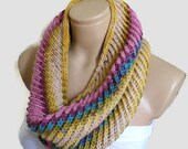 infinity scarf, cowl, neck warmer, Circle Scarf, soft, hand knit, unisex, women,  colorful