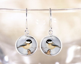 Silver Chickadee Earrings - Sterling Silver Bird Jewelry, Chickadee Bird Jewelry Earrings, Genuine Silver Dangle Earrings, Chickadee Jewelry