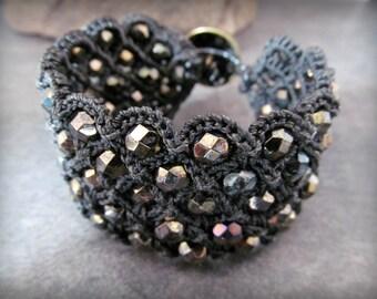 Black Cuff Bracelet, Bohemian Rustic Style, thick wide wrap bracelet, crochet jewelry