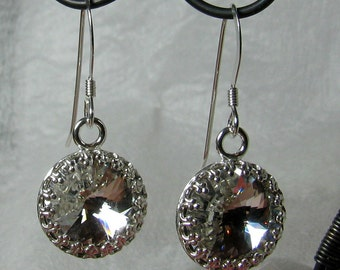 Earrings - Crystal Clear Swarovski Rivoli Crystals in Sterling Silver (E-236)