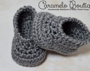 Crochet Gray Baby Boy Shoes-Gray Baby Boy Loafers-Gray Baby Boy Booties-Gray Newborn Shoes-Gray Infant Boy Shoes-Newborn Photography Prop