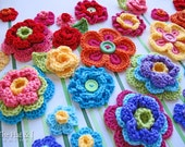 CROCHET PATTERN - Floral Fantasy - 5 colorful crochet flower patterns and 2 lovely leaf patterns  - Instant PDF Download