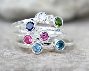 Gemstone Stacking Ring-Sterling Silver Gemstone Stacking Ring CHOOSE Your BIRTHSTONE CRYSTAL-Stacking Ring- stacking rings, stackable rings,