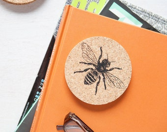 Bee Coasters - Cork - Set of Four - Honey Bee - Four Eco-Friendly Gift - Housewarming Gift - Screen Printed - Gift for Her