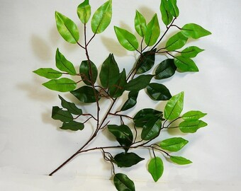 Artifical Leaves, Faux Greenery,  Green Ficus Leaves 6 Pack, Wreath Making, Silk Leaves, Fake Leaves, Silk Greenery, Floral Supply
