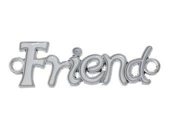 "4 WHITE Enamel Silver Tone ""Friend"" Charm Connector Links, 4.3x1.4cm  che0387"