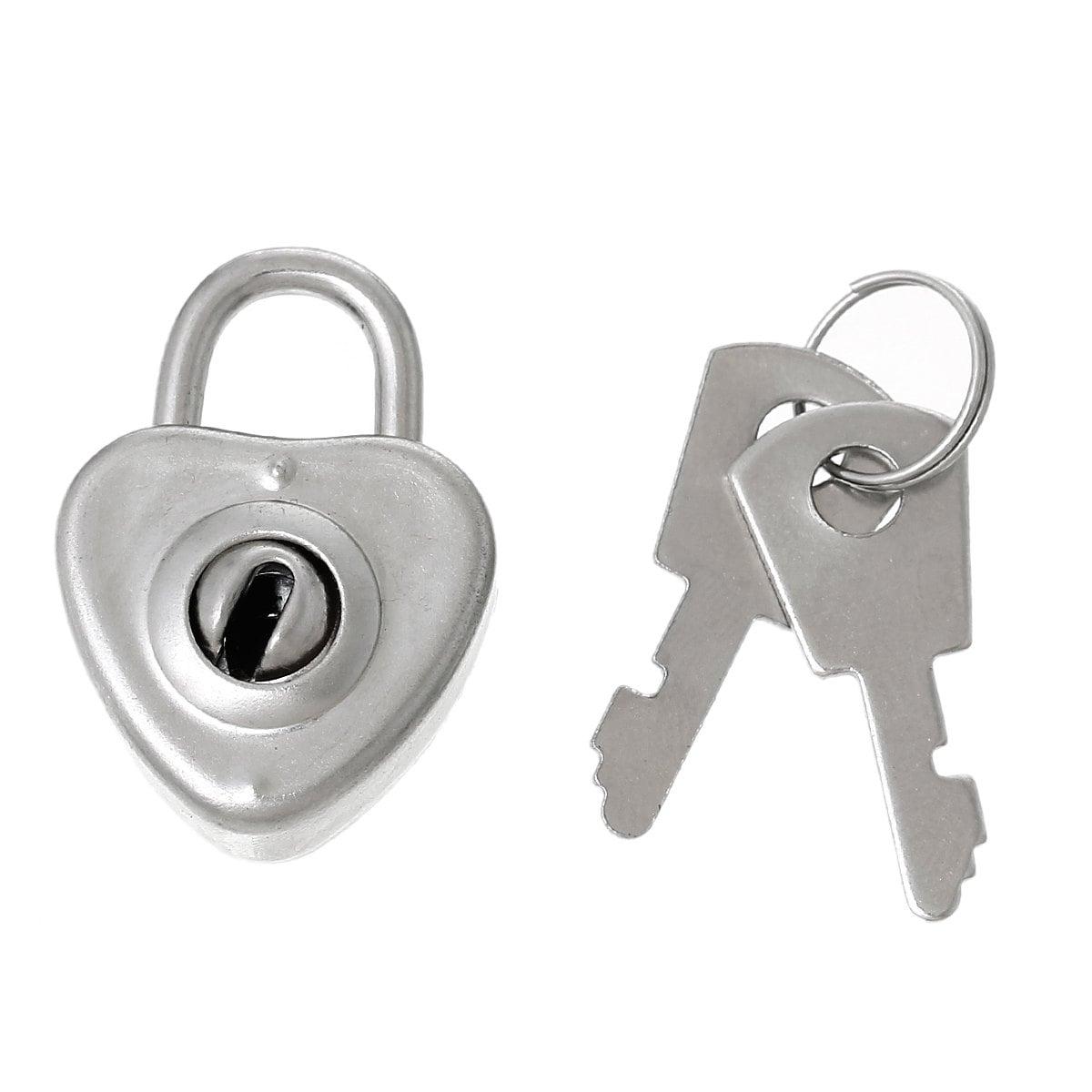 4 sets silver tone metal jewelry box lock and keys charm for Jewelry box with key