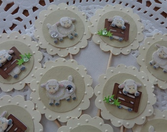 12 Sheep Cupcake Toppers - Food Picks - Party Picks - Sheep Glitter Embellishments - Gender Neutral Baby Shower Decorations - Dot Embossed