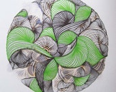 Abstract Original Ink Contemporary Painting, modern ink art, black, green and white painting,  floral patterns in ink
