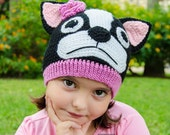 Boston Terrier / French Bulldog Hat - PDF Crochet Pattern - 6 sizes ( 0-3 months to Adult ) - Beanie Hat Baby Child Adult Accessorie