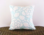AQUA ROSES pillow cover 14 X 14 inches, light teal cushion cover, aqua throw pillow, aqua chenille pillow case, aqua roses porch pillow case