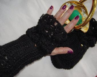 MADE TO ORDER Handmade crochet lace black sparkle fingerless gloves/crochet gloves Christmas accessories gift idea for her by goldenyarn