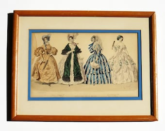 """Antique French Fashion LITHOGRAPH Print - HAND-COLORED / From """"Histoire De La Mode"""" / French Fashion 1832-1846 / Great Gift Idea"""