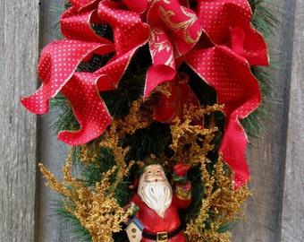 Christmas Wreath, Santa Claus Wreath, Holiday Swag, Christmas Swag, Victorian, Designer Swag, Elegant Christmas