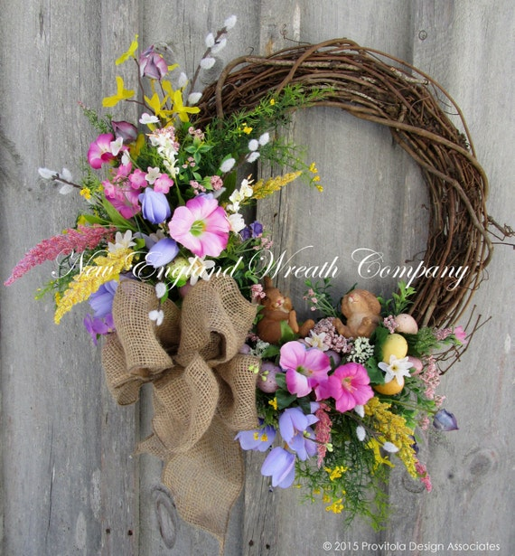 Easter Wreath, Spring Wreath, Easter Bunny Wreath, Woodland Wreath, Country Cottage, Whimsical Easter, Designer, Spring Floral
