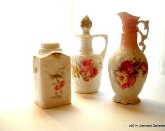 Vintage Lot of French Boudoir Antique Porcelain Scent Bottles Decanters Victorian Vanity Items