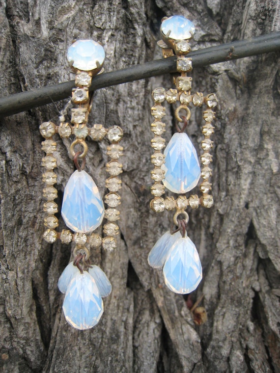 Gorgeous Translucent Milk Glass Faceted Bead Crystal Earrings with Gold Tone Frame Set with Rhinestones Clip Ons