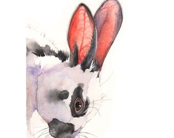 Rabbit print of watercolor painting R0715 - A4 size print - Easter wall art - easter decor