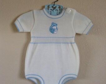 Vintage Knit Teddy Bear Baby Onsie (3/6 months)