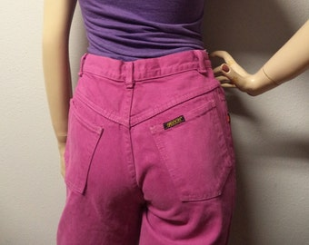 Vintage 80's SASSON  High Waisted Hot Pink  Denim Jeans  with bows on legs. Waist 26 inches