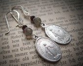Vintage Marian Medals with Labradorite, Garnets and Sterling Silver Ear Wires.  Mary. Catholic Medal Jewellery