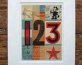 Vintage numbers 123, pop art print. Typographic ephemera - fine art giclée, 8 x 10 mount. Maybe nursery art print. Title: 'Signals El Gato'