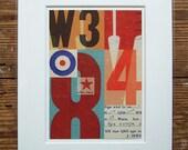 British pop art print, vintage type, with mod target. Contemporary collage, fine art giclée, 8 x 10 mount. Title: 'Signals no. 5'
