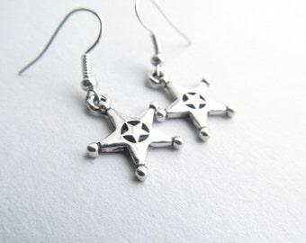 Sheriff Star French Wire Dangle Earrings