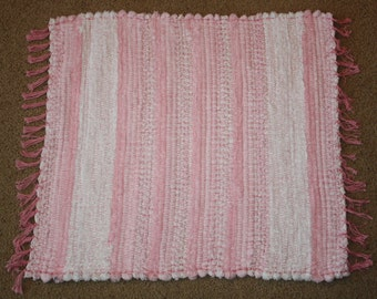Handwoven Rag Rug -Super Soft Pink  and White Chenille & Terrycloth - 27 inches....(#50)