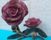 Valentine Burgandy Rose Display, Candle Holder