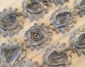 "SHINY Silver Shabby Rose Trim 2.5"" Shabby Flowers Shabby Chiffon Flowers Shabby Chic Trim Wholesale Rosette trim 6cm"