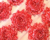 "Shabby Rose Trim 2.5"" Red and White Clover Flower Printed Shabby Chic Frayed Flowers Chiffon Printed Trim Wholesale Rosette trim 6cm Yard"