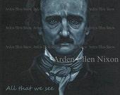 "Edgar Allan Poe Portrait Print--5 x7"""