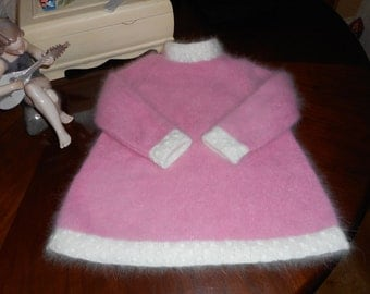 "Stunning Hand made Vintage style Pink and White Angora Dress knitted in size 22"" chest for around 2 Years old"