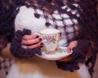Bridal Knit Gloves, Fingerless Gloves, Mittens, Ruffle gloves, Wrist warmer, Purple Knit Gloves, Purple Fingerless, Wedding Gloves