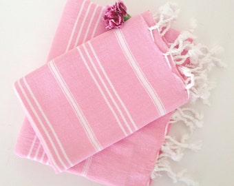 Turkish BATH and Head Towel Set: Handmade Peshtemal and Peshkir, Home Decor, Fouta, beach, spa, ecofriendly, gift, christmas, pink