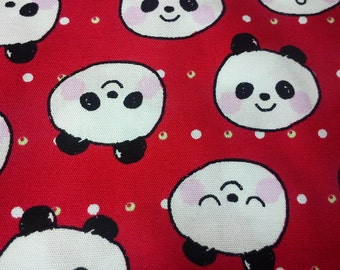 Bear face drawing, red, fat quarter, pure cotton fabric