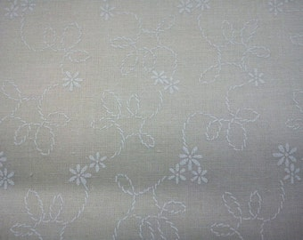 White daily and rope, on ivory, fat quarter, pure cotton fabric
