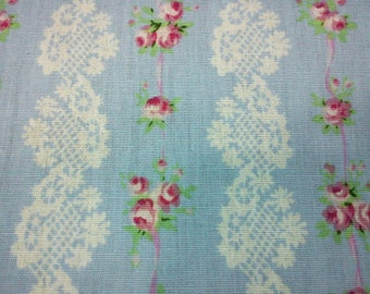 SALE - Lace and rose, pale blue, 1/2 yard, pure cotton fabric